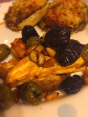 Sweet Potato Wedges with Pine Nuts and Olives